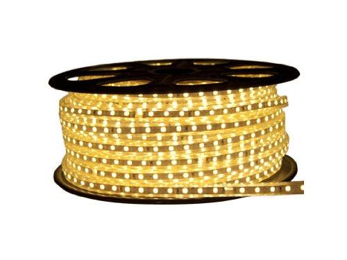 CBconcept 120VSMD3528-20M-WW 120 -volt SMD3528 Flexible Flat LED Strip Rope Light, 65-Feet Spool, Warm White