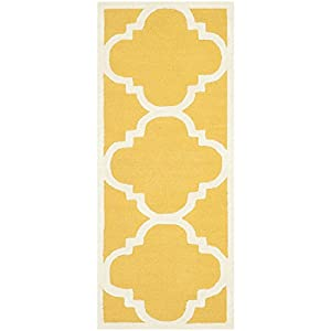 Safavieh Cambridge Collection CAM140Q Handmade Wool Area Runner, 2-Feet 6-Inch by 10-Feet, Gold and Ivory
