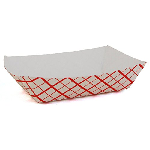Fantastic Deals Pack of 50 Red and White 1lbs Disposable Paper Food Trays Picnic Carnival Festival Fair (1lb Paper Trays compare prices)