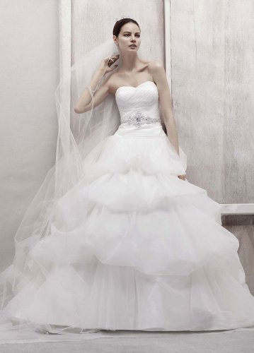 David&#8217;s Bridal Wedding Dress: Tulle Ball Gown with Pick Up Skirt Style CWG435