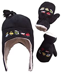 N\'Ice Caps Boys Sherpa Lined Micro Fleece Embroidered Hat and Mitten Set (4-7yrs, black)