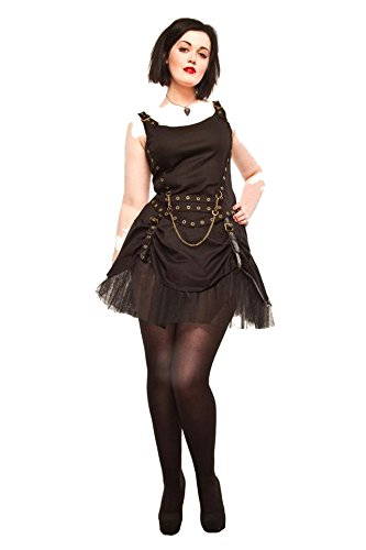 [Size 12/14 Ladies Steampunk Gothic Victorian Rouched Skirt with Net Petticoat] (Larp Costumes Uk)