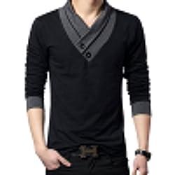 (メイク トゥ ビー) Make 2 Be スリム Vネック 長袖 Tシャツ スカーフ風 カジュアル シャツ MF01 (21.長袖 黒 L)