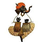 Karigaari India Wrought Iron Ganesha Playing Tabla Wall Hanging