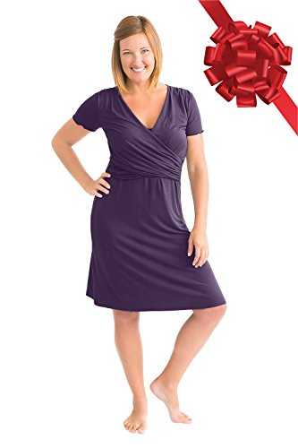 Kindred Bravely The Angelina Ultra Soft Maternity & Nursing Nightgown Dress (Eggplant, Small)