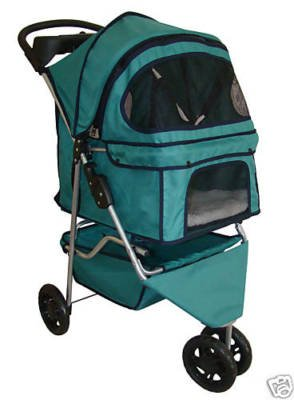 of New Classic Fashion Teal 3 Wheels Pet Dog Cat Stroller w/Rain Cover