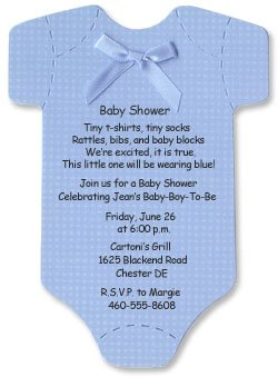 Onesie Baby Shower Invitations for Baby Boy - Set of 10