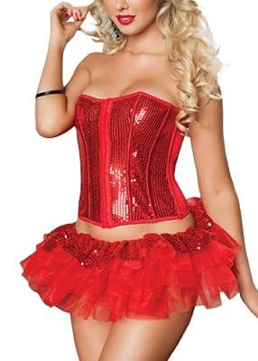 ZLMDS Damen Korsage sexy Kostüme Mode mit Pailletten in Rot/Schwarz