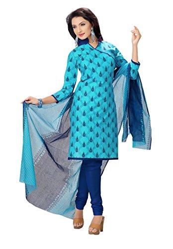 Rajnandini Womens Cotton Unstitched Salwar Suit Dress Material (Joplmsf1025 _Aqua Blue _Free Size)