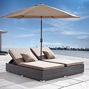 Atlantic Outdoor Double Outdoor Chaise Lounge Grandin Road