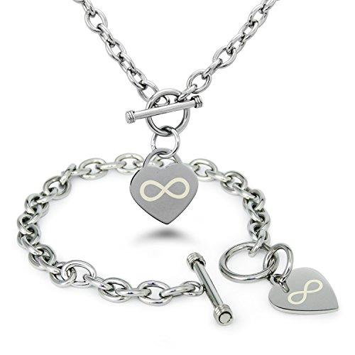 acciaio-inossidabile-icona-infinito-inciso-modifica-del-cuore-toggle-bracciale-e-la-collana-set