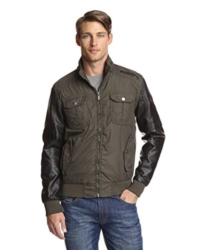 X-RAY Men's Nylon Jacket with Contrast Sleeves