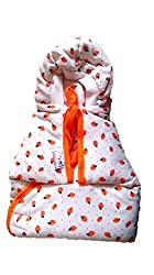 Tinycare Hooded Cherry Printed Baby Wrapper -Orange
