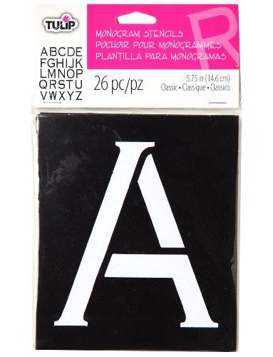 Tulip Design Stencil Template, Monogram Block front-726023