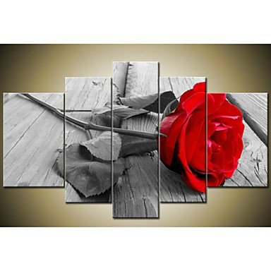 Sanbay Art 100% Hand Painted Oil Paintings on Canvas Hot Sale Beautiful Rose Flowers Wood Framed Inside 5-pieces Set Artwork for Living Room Kitchen and Home Wall Decoration