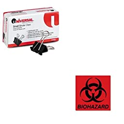 KITRCPBP1UNV10200 - Value Kit - Rubbermaid Biohazard Decal (RCPBP1) and Universal Small Binder Clips (UNV10200)