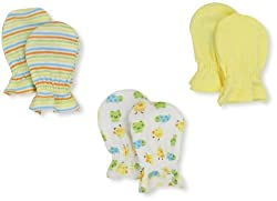 Gerber Unisex-Baby Ducks 3 Pack Mitten, Yellow/White, 0-3 Months