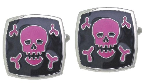 Code Red Base Metal Rhodium Plated with Black and Purple Enamel Cufflinks