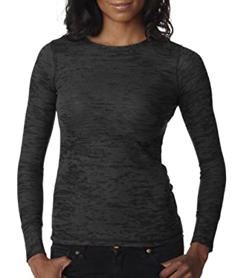 Next Level Ladies Burnout Long-Sleeve Thermal T-Shirt, Black, Small
