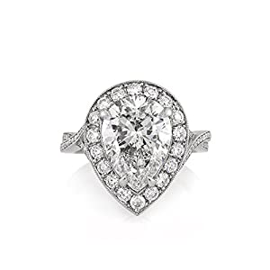 Mark Broumand 5.36ct Pear Shaped Diamond Engagement Ring