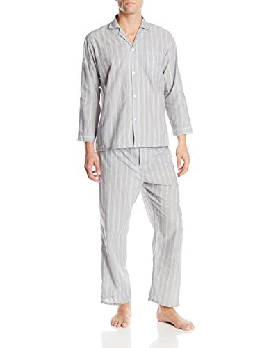 Geoffrey Beene Men's Black Stripe Fancy Long Sleeve Pajama Set