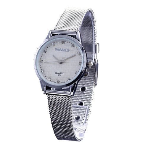 2013Newestseller Brand Womage Watches Mens Womens Unisex Stainless Steel Band Fashion Watches On Sales Size M White(Silver Side Silver Band)