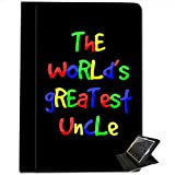 The World's Greatest Uncle Birthday Gift For Apple iPad Air Faux Leather Folio Presenter Case Cover Bag with Stand Capability