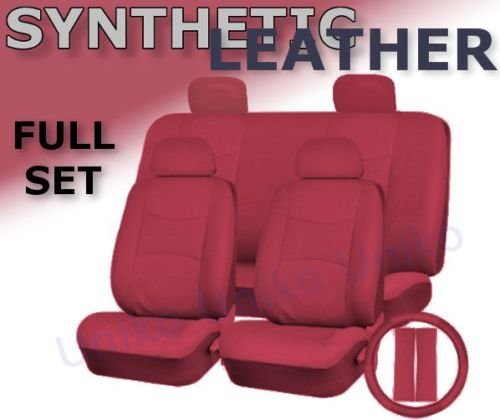 Full Set 13 Piece Premium Double Stitched Vinyl Leatherette Car Vehicle Seat Covers Luxury Universal Fit Interior - Includes Steering Wheel Set (Red Leatherette) (Solid Red Seat Covers compare prices)