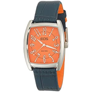 EOS New York Unisex 42BMANBLU Aiden Two Tone Leather Strap Watch