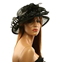 Classy Kentucky Derby Flowers Curled Leaf Feathers Bucket Church Hat Cap Black