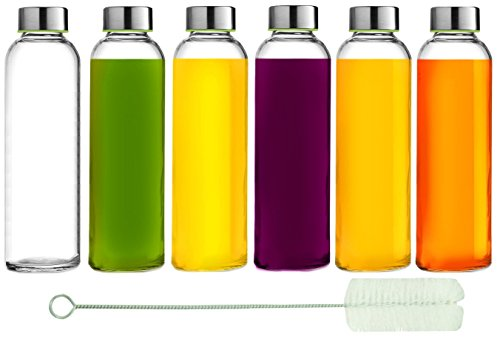 Brieftons Glass Water Bottles: 6 Pack, Large 18 Oz, Stainless Steel Leak-Proof Lid, Premium Soda Lime, BPA Free, Best As Reusable Drinking Bottle, Sauce Jar, Juice Container, Kombucha and Kefir Kit (Bong Bottle compare prices)