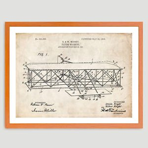 LanLan WRIGHT FLYER AIRPLANE US PATENT PRINT 18X24 POSTER GIFT BROTHERS FLYING MACHINE