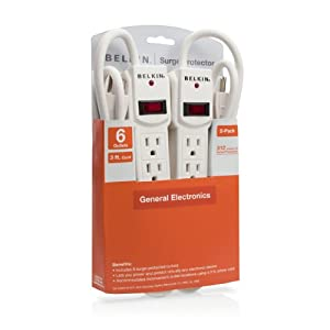 Belkin 6-Outlet Surge Protector 2-Pack with 2ft cord