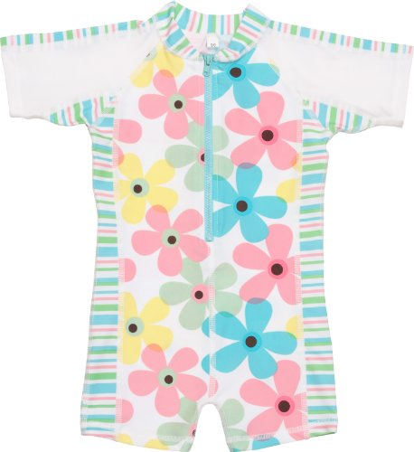 Snapper Rock Unisex Baby UV One-Piece Short-Sleeved Sunsuit Pastel Daisy Stripe 0-6 months