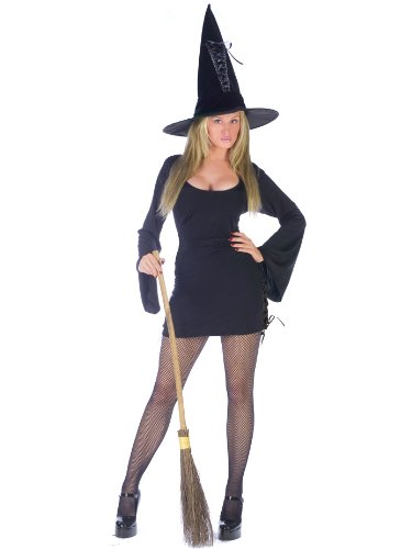 Classic Witch Halloween Costume Long Sleeve Black Dress Bell Sleeves Witch Hat