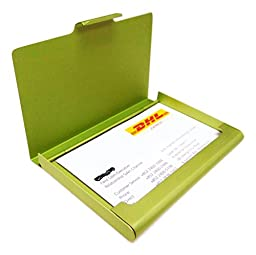 Business Name Card Holder Aluminum Case - Green