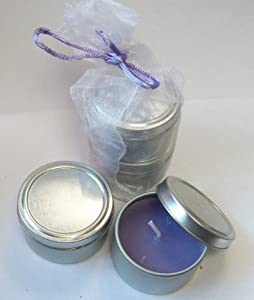 Lavender & Lemon Candle Set - 4 x Tin Candles In Gift Net Bag