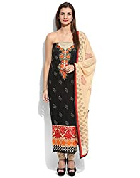 Yehii Women's Chanderi Black Plain / Solid dress material Unstitched Salwar Kameez Dupatta for women party wear low price Below Sale Offer