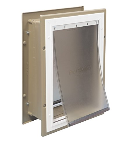 PetSafe Wall Entry Aluminum Pet Door with Telescoping Tunnel, Taupe and White, Large (Through Wall compare prices)