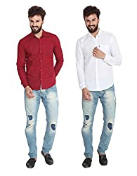 Pelican's Pack Of 2 Maroon & White Slim Fit Casual 100% Cotton Shirt