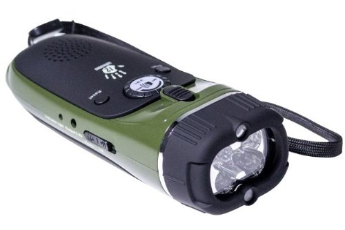 12 Survivors Emergency Hand Crank Radio/Flashlight, Black/Green
