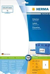 Herma 8637 Etiketten Premium A4 210 x 297 mm Papier matt 10 Stück, weiß