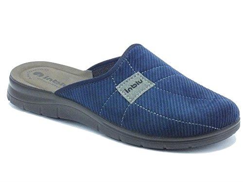 Pantofole InBlu per uomo in tessuto blu fondo soft anatomico (Taglia 42)