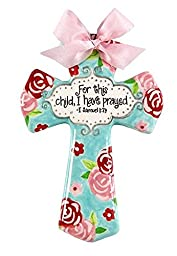 \'For This Child I Have Prayed\' Pink and Aqua Floral 8\