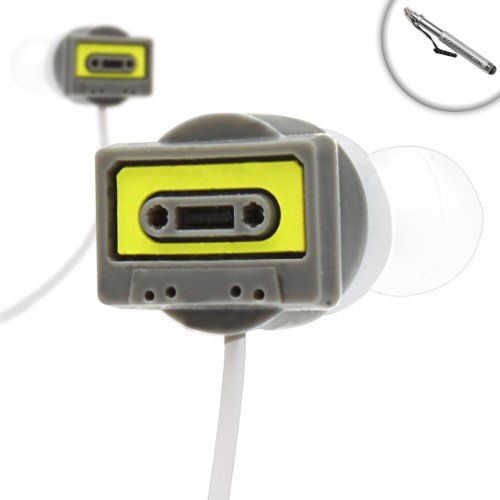 Trackbuds Retro Cassette Tape Deck Earbud Headphones With Capacitive Stylus For Samsung Galaxy Tab 2 , Google Nexus 7 , Asus Transformer Pad Infinity Tf700T And Many More Tablets