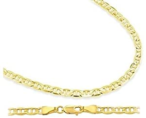 14k Yellow Gold Necklace Mariner Chain Mens Womens Solid 1.4mm , 18 inch