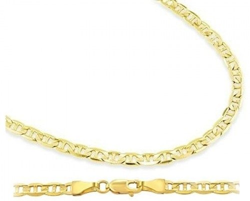14k Yellow Gold Necklace Mariner Chain Mens Womens Solid 1.4mm