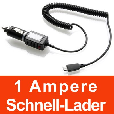 YAYAGO KFZ Ladekabel 1 Ampere Micro USB - Schnell-Lader - 12/24V PKW LKW Auto Ladeger&#228;t f&#252;r Ihr Samsung Star 2 S5260 / Samsung C3300 / Samsung Omnia II Omnia 2 i8000 / Samsung OMNIA 7 i8700 / Samsung S5560 / Samsung S5620 Monte inkl. dem Original YAYAGO Clean-Pad