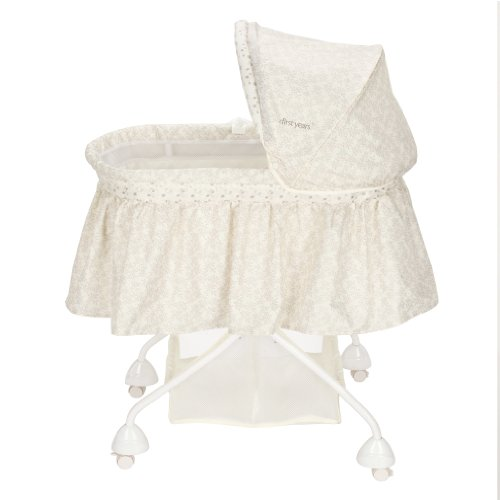 The First Years 4-in-1 Sleep System Bassinet, Ivory Vines (Discontinued by Manufacturer) - 1