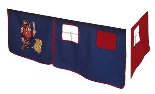 Vorhang Hochbett, Kinderbett Pirat Stoff 3-teilig blau-rot incl.Kebeklett